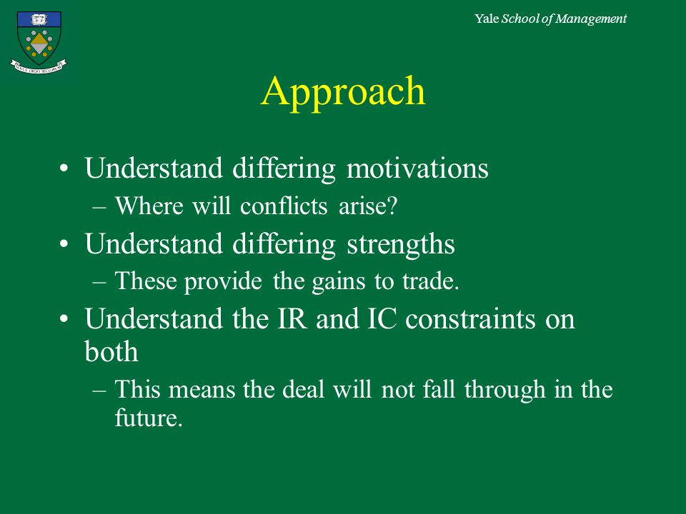 Yale School of Management Approach Understand differing motivations –Where will conflicts arise.