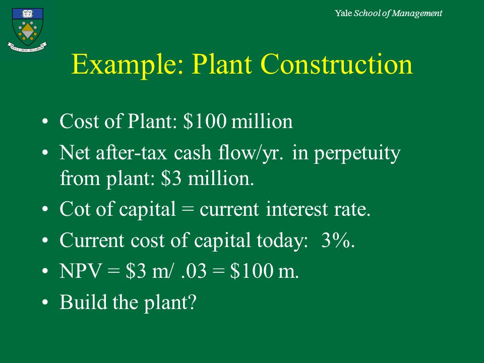 Yale School of Management Example: Plant Construction Cost of Plant: $100 million Net after-tax cash flow/yr.