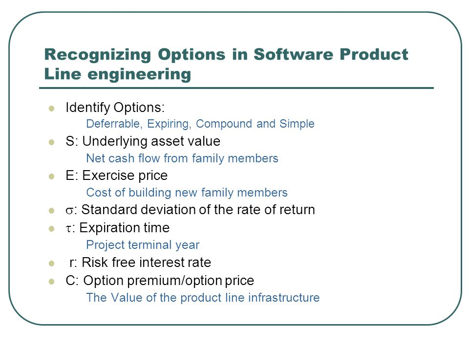 Recognizing Options in Software Product Line engineering Identify Options: Deferrable, Expiring, Compound and Simple S: Underlying asset value Net cash flow from family members E: Exercise price Cost of building new family members  : Standard deviation of the rate of return  : Expiration time Project terminal year r: Risk free interest rate C: Option premium/option price The Value of the product line infrastructure