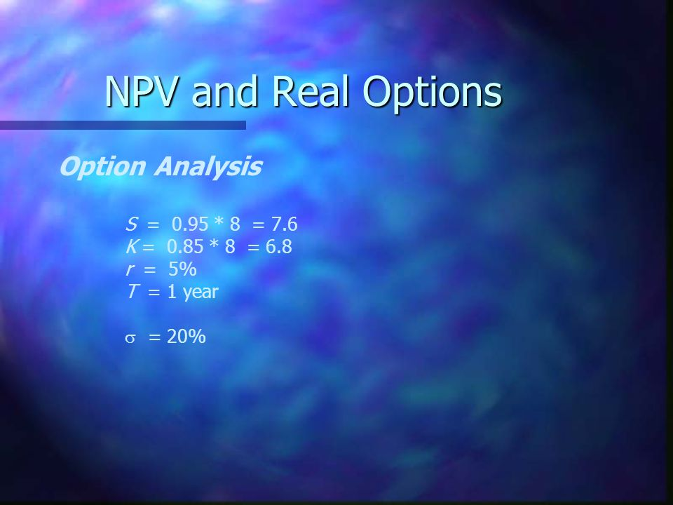 NPV and Real Options Option Analysis S = 0.95 * 8 = 7.6 K = 0.85 * 8 = 6.8 r = 5% T = 1 year  = 20%