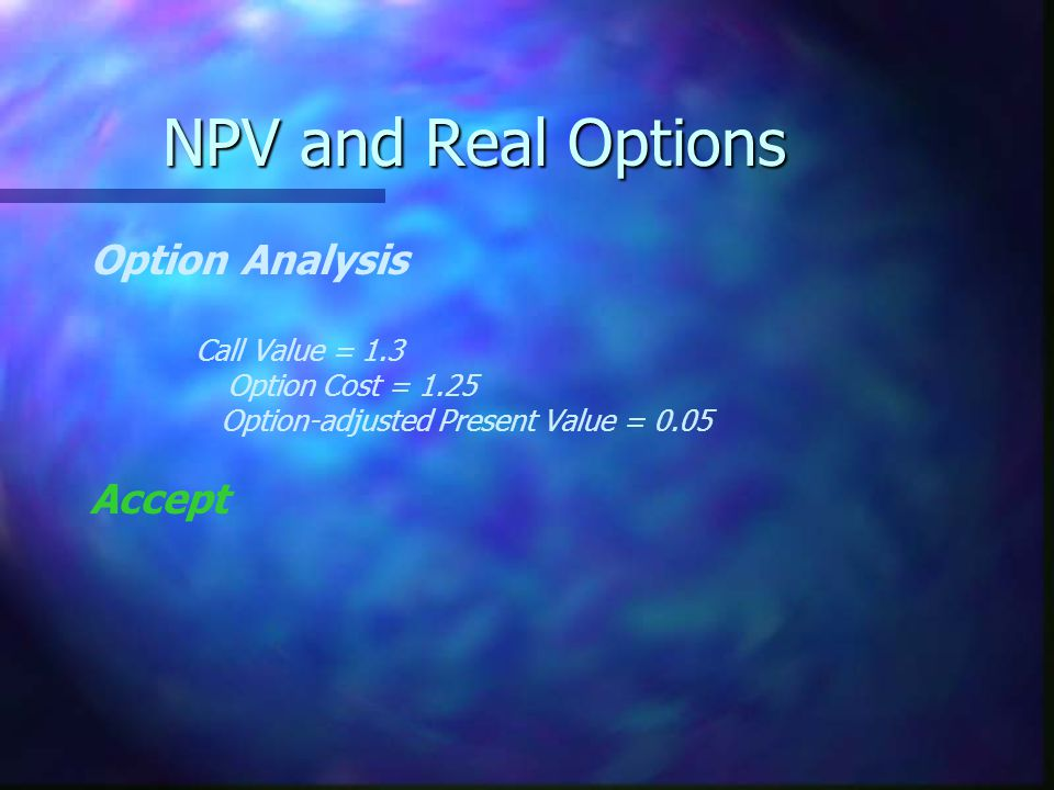 Option Analysis Call Value = 1.3 Option Cost = 1.25 Option-adjusted Present Value = 0.05 Accept