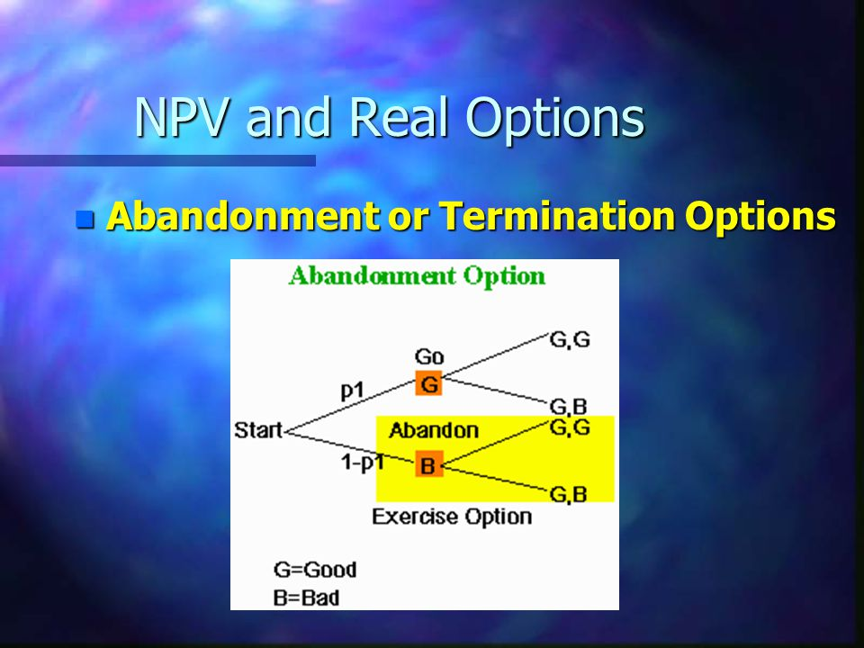 NPV and Real Options n Abandonment or Termination Options