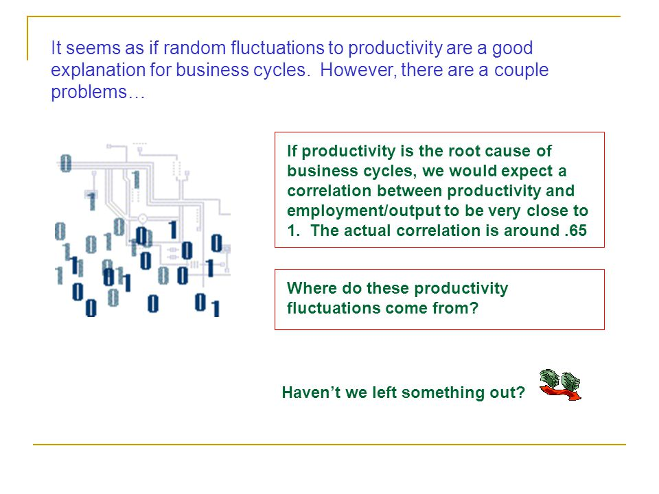 It seems as if random fluctuations to productivity are a good explanation for business cycles. However, there are a couple problems… If productivity i