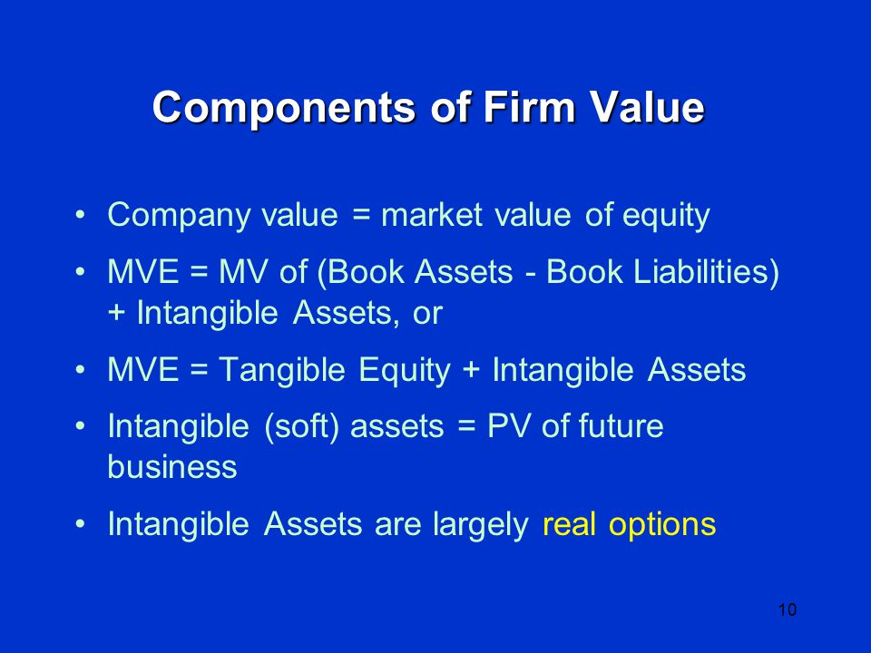 9 Real Options Valuation of non-financial assets involving: –Contingent decisions –Non-linear payoff, as in financial options Time element (event sequence) is important –Volatility of outcomes drives the option value Have been used successfully in –Natural resource investment –Technology valuation