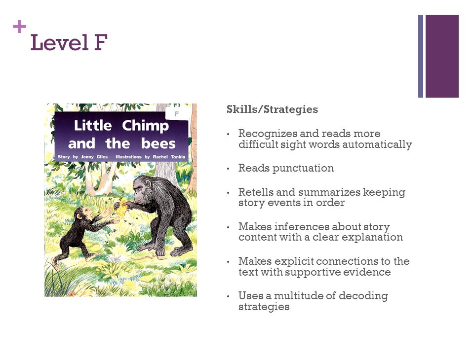 + Level F Skills/Strategies Recognizes and reads more difficult sight words automatically Reads punctuation Retells and summarizes keeping story event