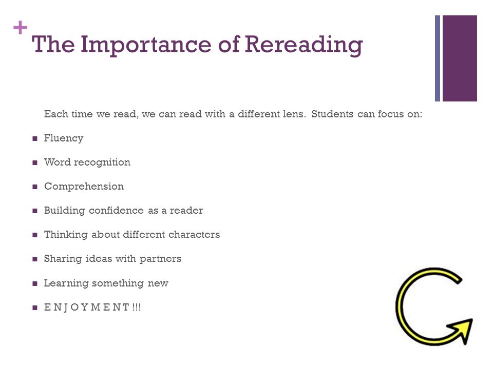 + The Importance of Rereading Each time we read, we can read with a different lens. Students can focus on: Fluency Word recognition Comprehension Buil
