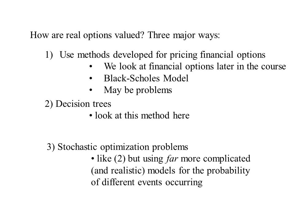 Option to Delay simple example from Irreversibility, Uncertainty and Investment , Robert Pindyck [Journal of Economic Literature, 1991] for $800 a firm can build widget factory makes 1 widget per year factory is built instantly investment is irreversible if factory built, first widget produced immediately no costs of manufacturing no taxes appropriate discount rate is 10%