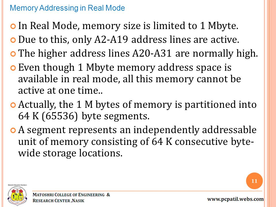 In Real Mode, memory size is limited to 1 Mbyte. Due to this, only A2-A19 address lines are active.