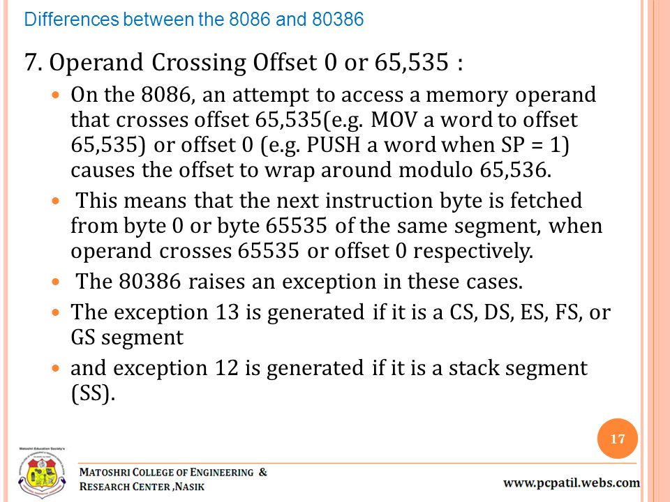 7. Operand Crossing Offset 0 or 65,535 : On the 8086, an attempt to access a memory operand that crosses offset 65,535(e.g. MOV a word to offset 65,53