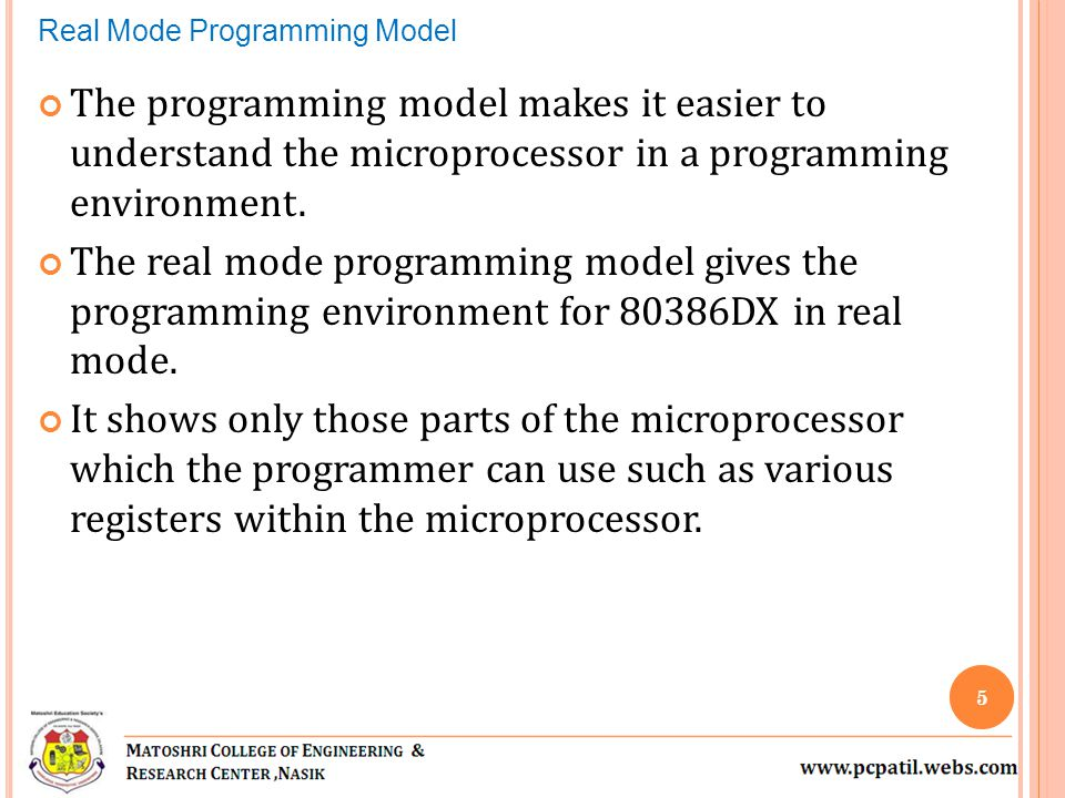 The programming model makes it easier to understand the microprocessor in a programming environment. The real mode programming model gives the program