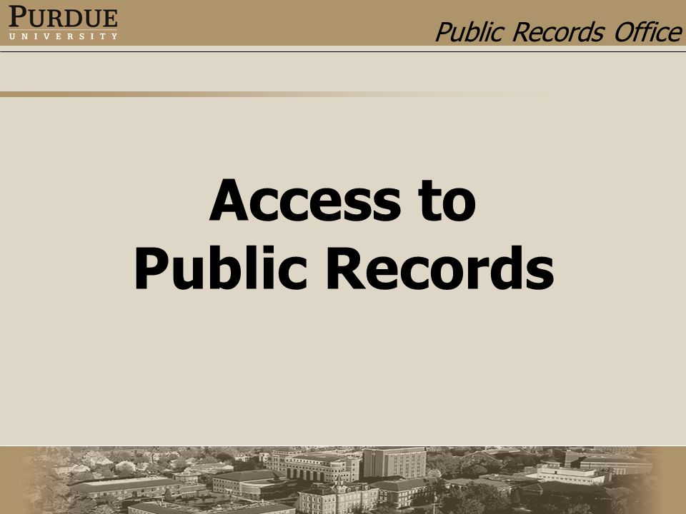 Public Records Office Access to Public Records