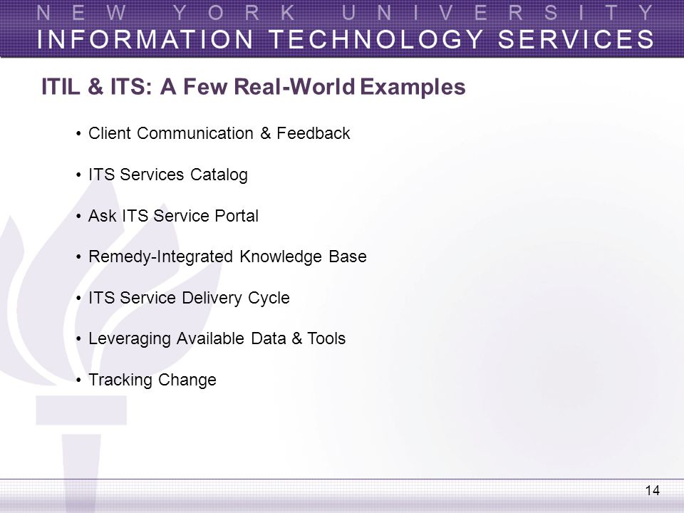 14 ITIL & ITS: A Few Real-World Examples Client Communication & Feedback ITS Services Catalog Ask ITS Service Portal Remedy-Integrated Knowledge Base
