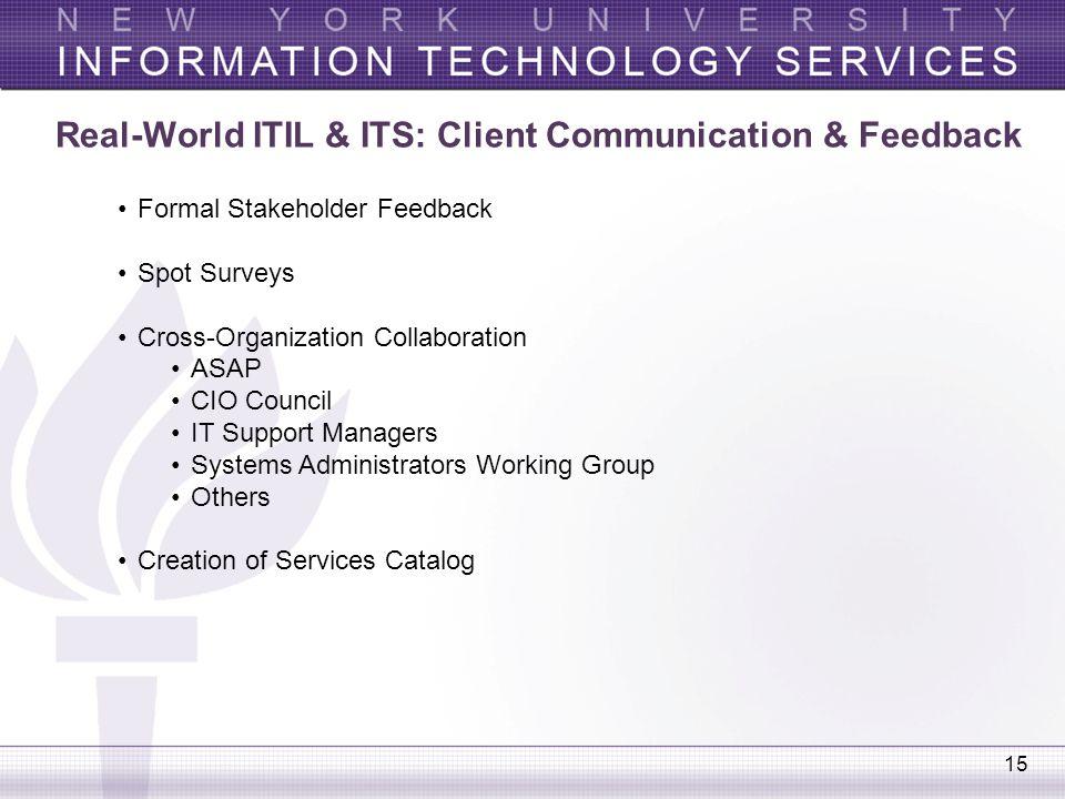 15 Real-World ITIL & ITS: Client Communication & Feedback Formal Stakeholder Feedback Spot Surveys Cross-Organization Collaboration ASAP CIO Council I
