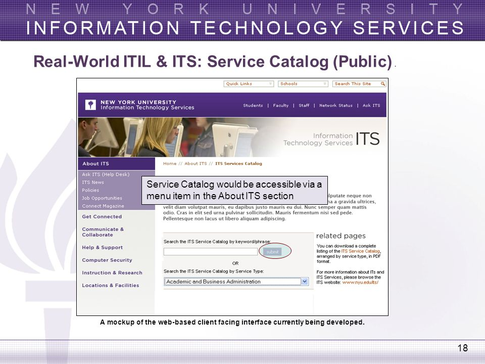 18 Service Catalog would be accessible via a menu item in the About ITS section A mockup of the web-based client facing interface currently being deve