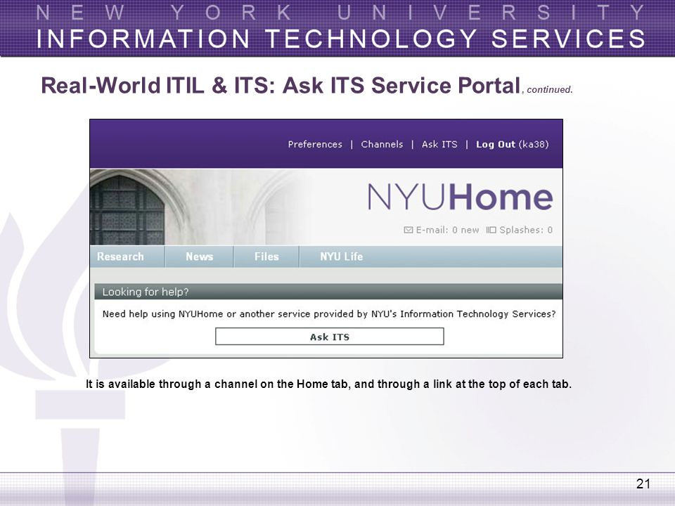 21 Real-World ITIL & ITS: Ask ITS Service Portal, continued. It is available through a channel on the Home tab, and through a link at the top of each