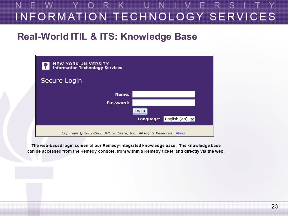 23 Real-World ITIL & ITS: Knowledge Base The web-based login screen of our Remedy-integrated knowledge base. The knowledge base can be accessed from t