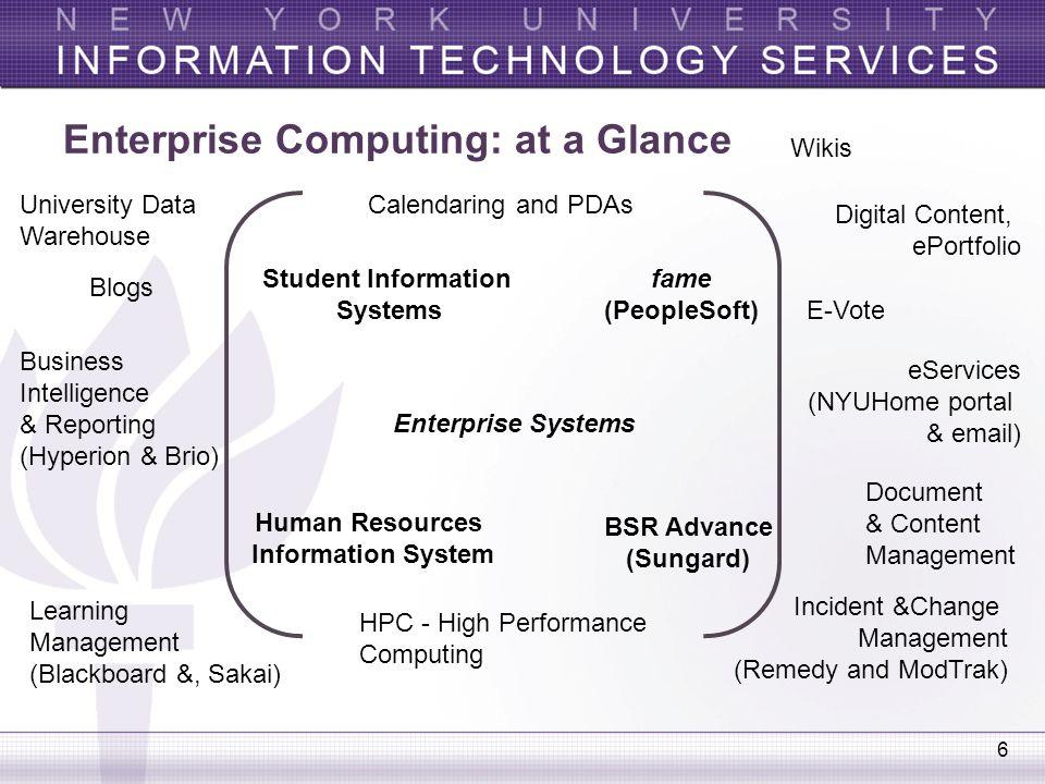 6 Enterprise Computing: at a Glance Digital Content, ePortfolio eServices (NYUHome portal & email) Incident &Change Management (Remedy and ModTrak) Le