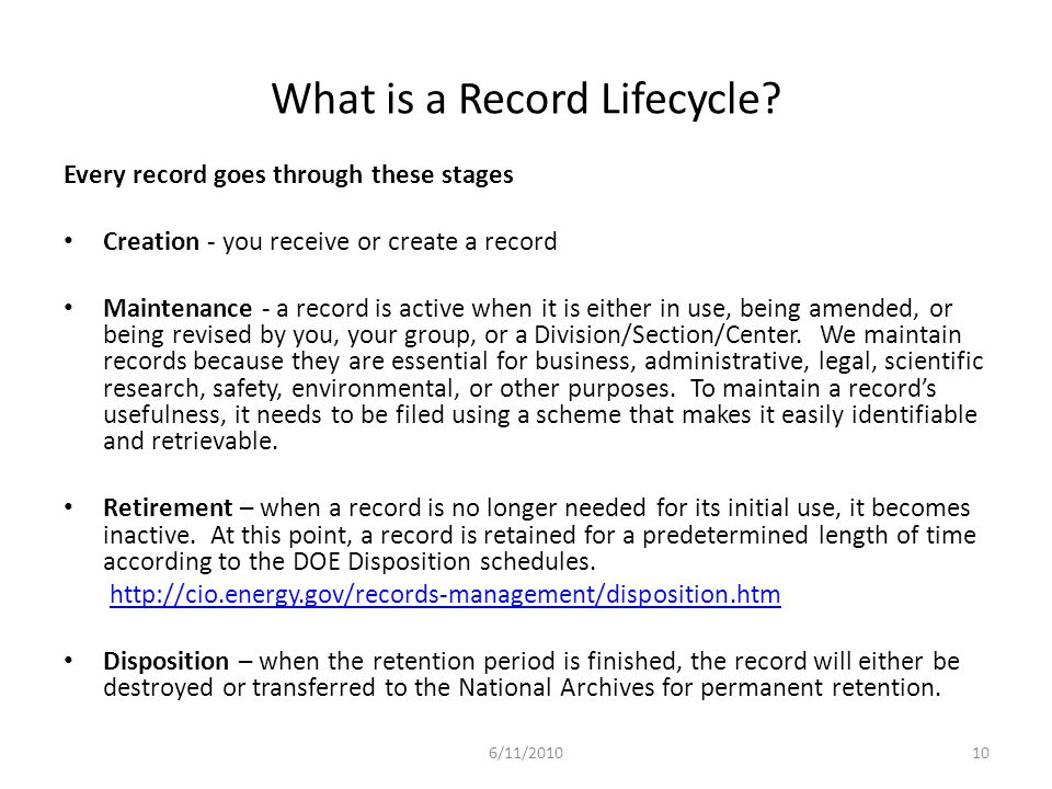 What is a Record Lifecycle.