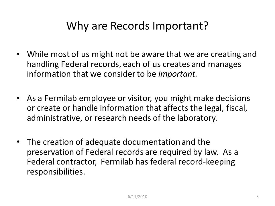 Why are Records Important.