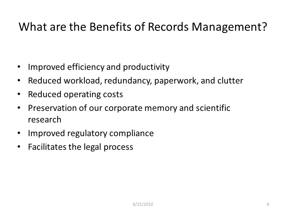 What are the Benefits of Records Management.