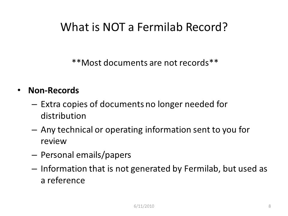 What is NOT a Fermilab Record.