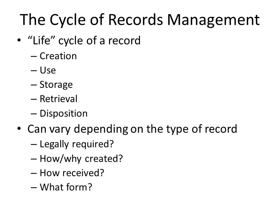 Records Management Vocabulary Filing indexing unit – A number, letter, or word (or any combo) used as part of the filing segment Filing segment – The entire name, subject, or number used for filing purposes Guide – Divider with a captioned tab that is used to separate and identify sections in a file to facilitate retrieval of records