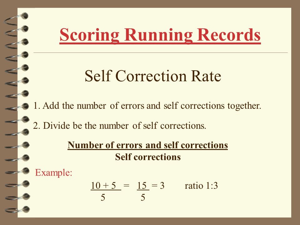 Scoring Running Records Accuracy Rate 1.