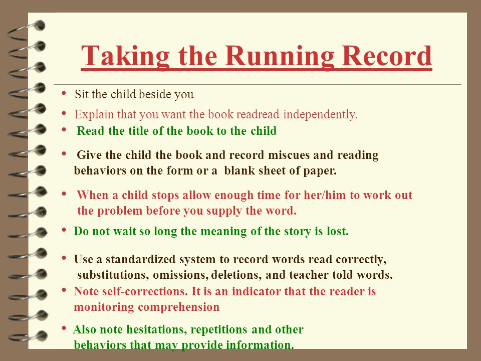 Scoring Running Records Error Rate 1.Count the number of errors.