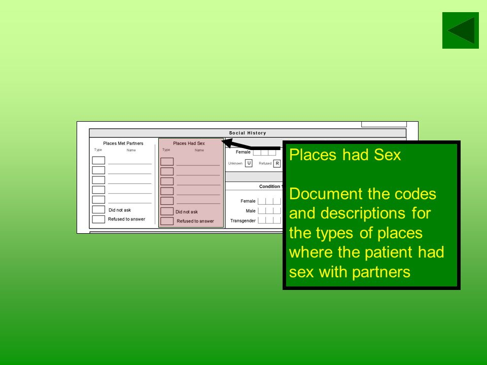 Place Met Partners Document the codes for the types of places where the patient met sex partners List names or descriptions of places the patient goes to meet sex partners