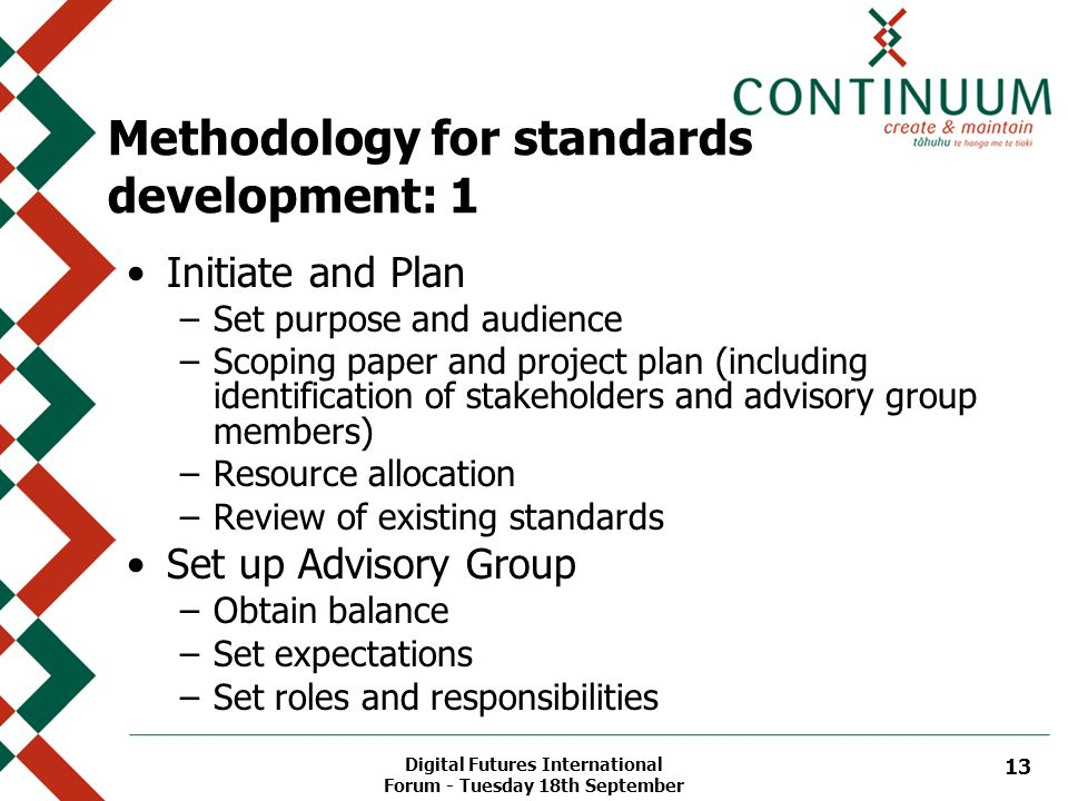 Digital Futures International Forum - Tuesday 18th September 13 Methodology for standards development: 1 Initiate and Plan –Set purpose and audience –