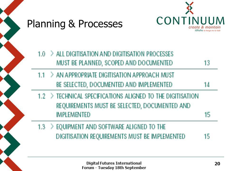 Digital Futures International Forum - Tuesday 18th September 20 Planning & Processes