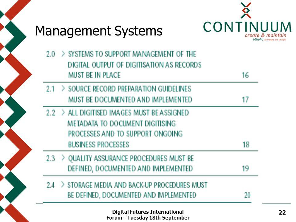 Digital Futures International Forum - Tuesday 18th September 22 Management Systems