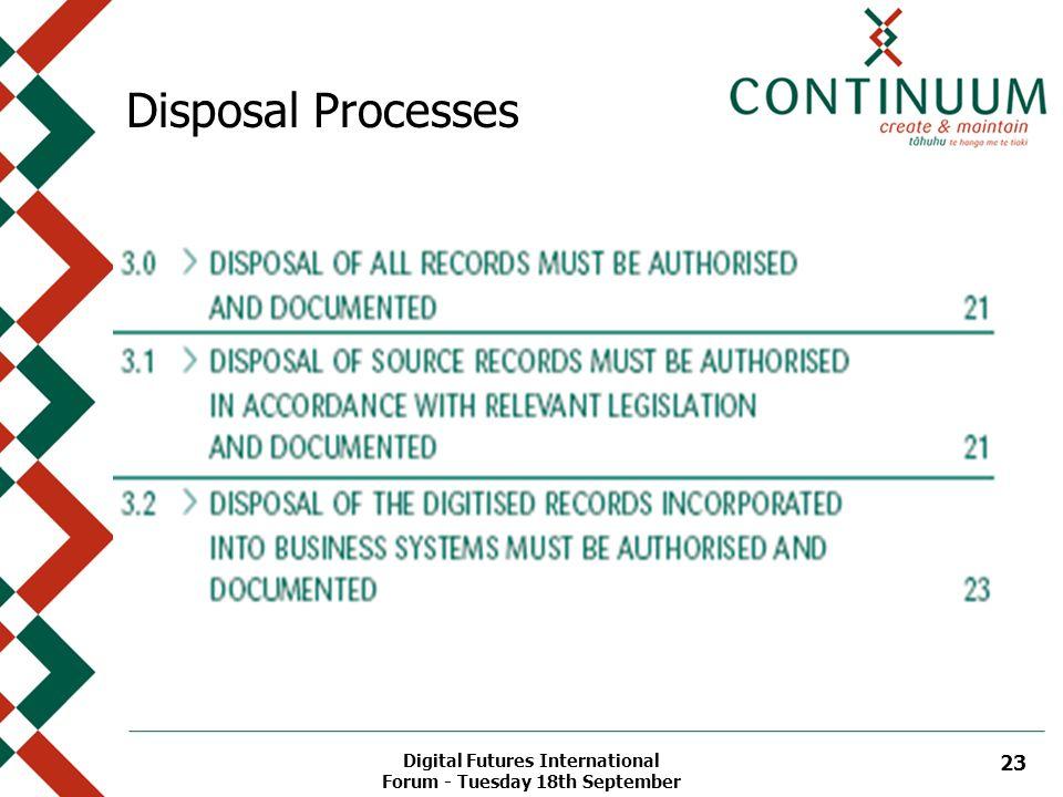 Digital Futures International Forum - Tuesday 18th September 23 Disposal Processes