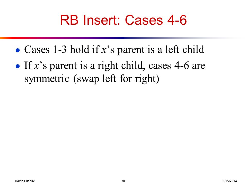 David Luebke 30 8/25/2014 RB Insert: Cases 4-6 ● Cases 1-3 hold if x's parent is a left child ● If x's parent is a right child, cases 4-6 are symmetric (swap left for right)