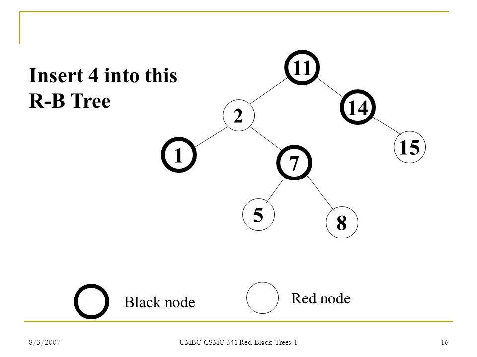 8/3/2007 UMBC CSMC 341 Red-Black-Trees-1 16 11 14 15 2 1 7 5 8 Black node Red node Insert 4 into this R-B Tree