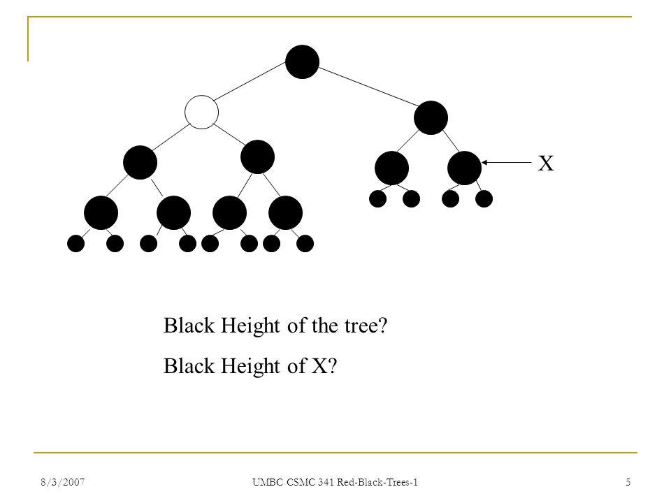 8/3/2007 UMBC CSMC 341 Red-Black-Trees-1 5 Black Height of the tree? Black Height of X? X