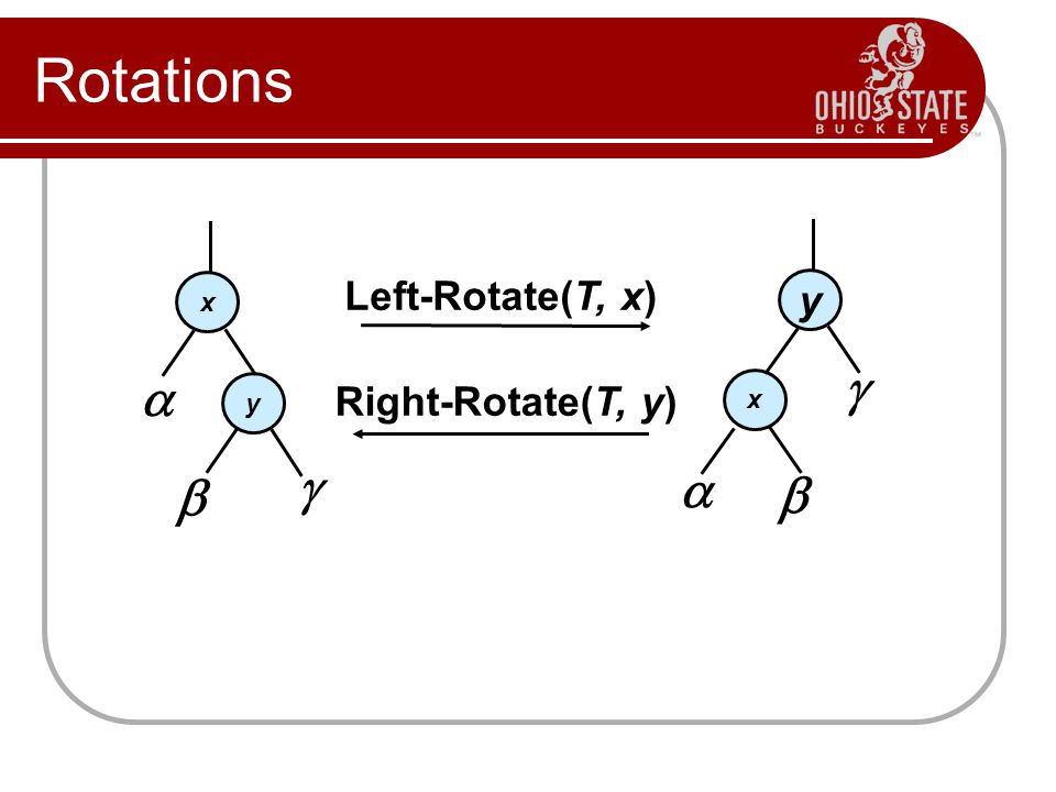 Rotations y x    Left-Rotate(T, x)   x y  Right-Rotate(T, y)