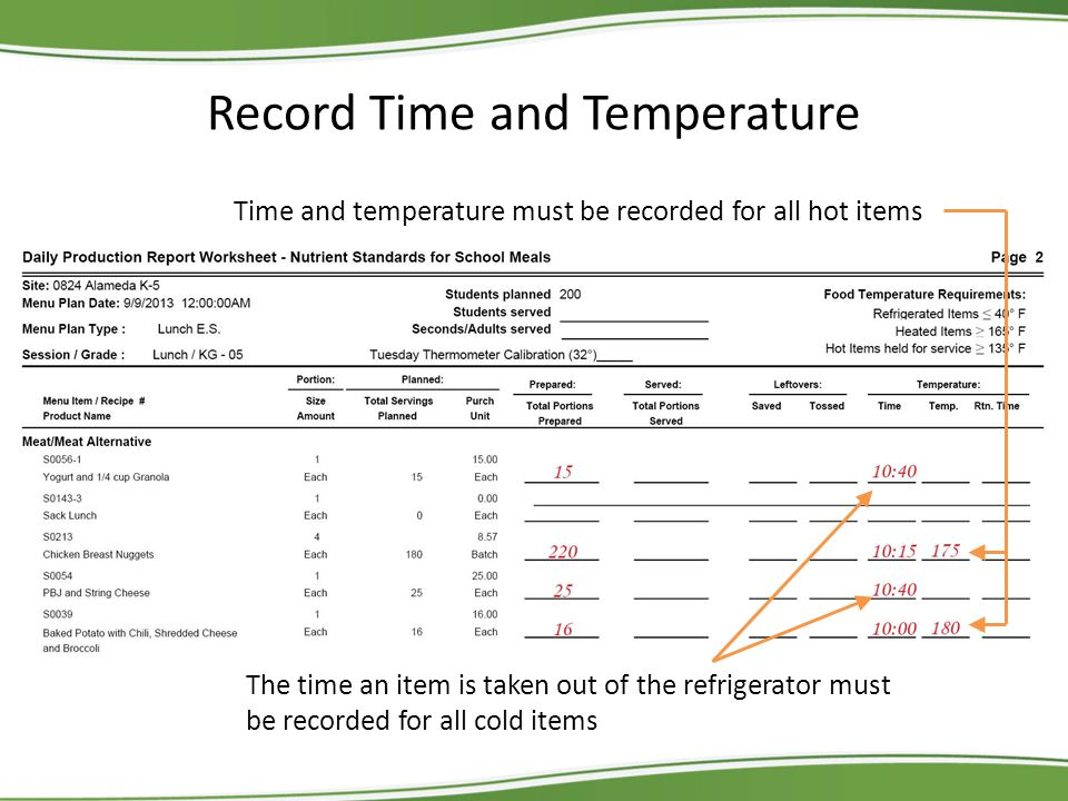 Record Time and Temperature Time and temperature must be recorded for all hot items The time an item is taken out of the refrigerator must be recorded for all cold items