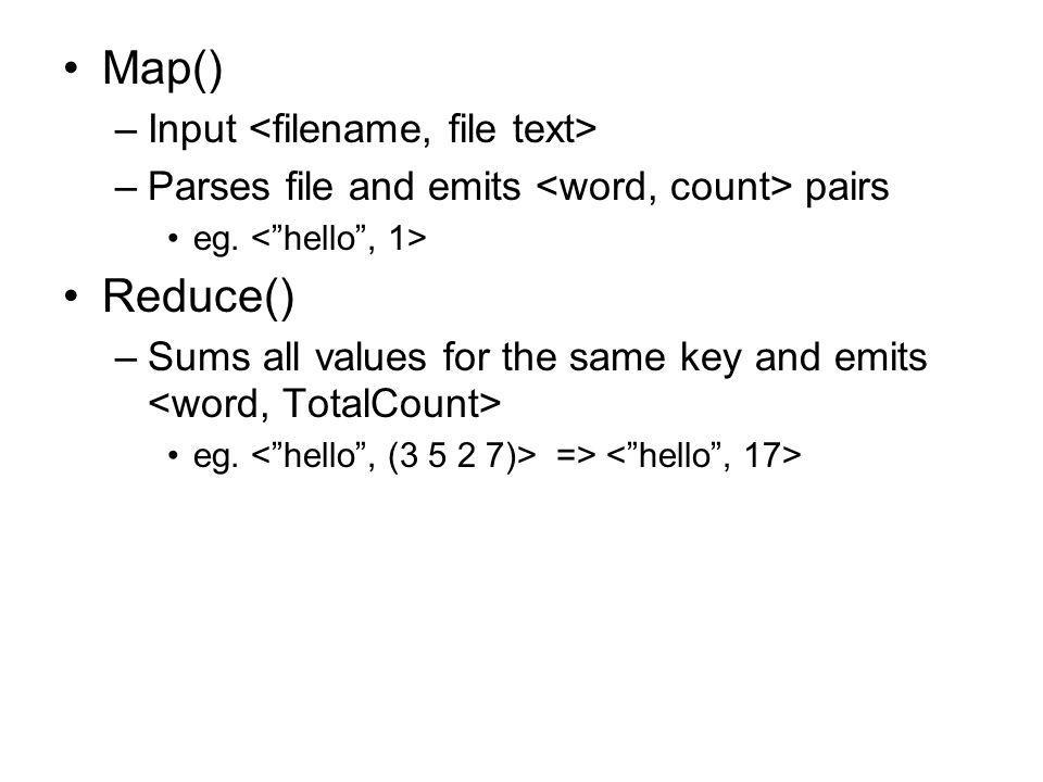Map()‏ –Input –Parses file and emits pairs eg. Reduce()‏ –Sums all values for the same key and emits eg. =>