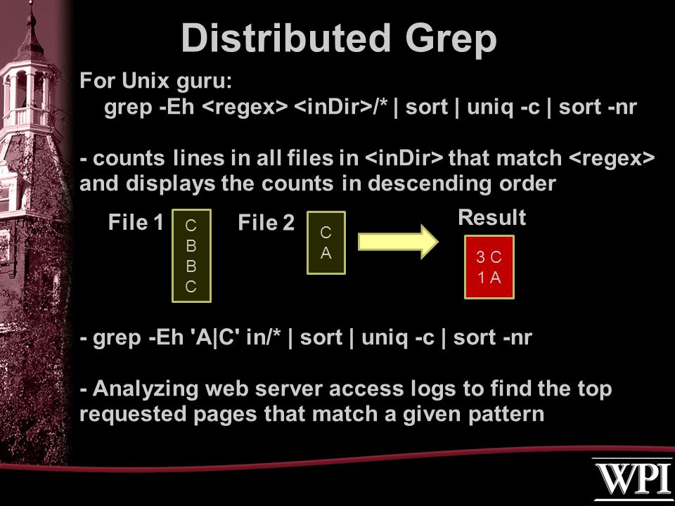 For Unix guru: grep -Eh /* | sort | uniq -c | sort -nr - counts lines in all files in that match and displays the counts in descending order - grep -Eh A|C in/* | sort | uniq -c | sort -nr - Analyzing web server access logs to find the top requested pages that match a given pattern Distributed Grep CBBCCBBC CACA 3 C 1 A Result File 2 File 1
