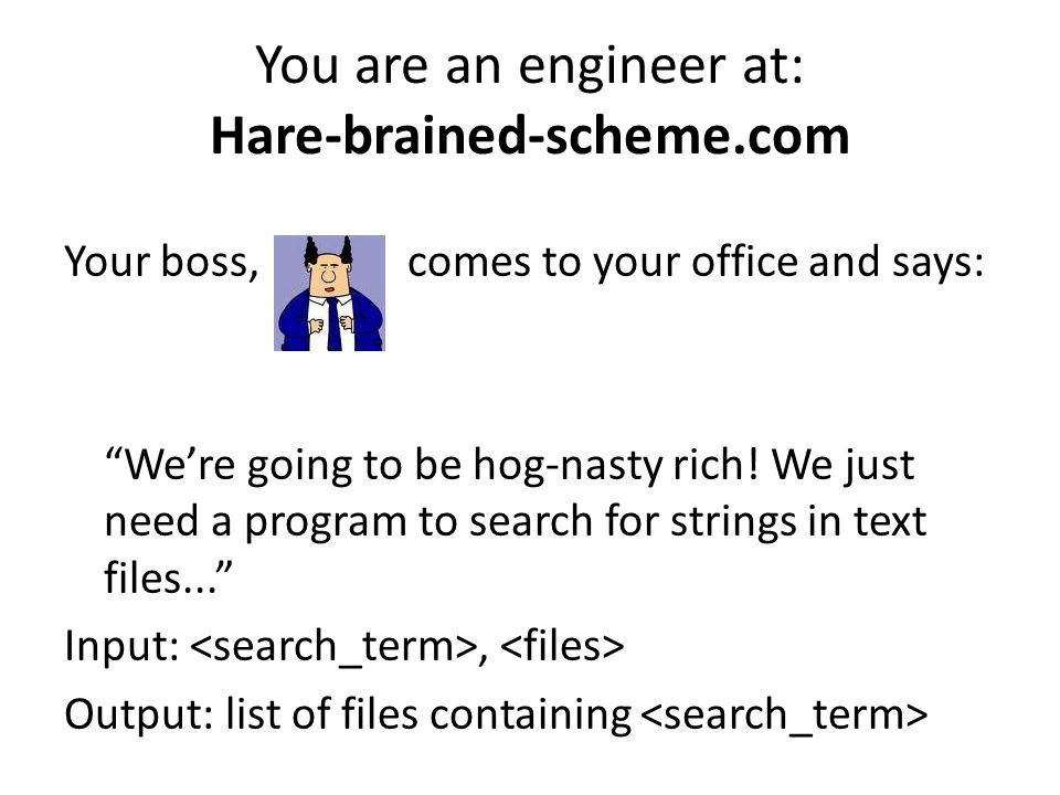 You are an engineer at: Hare-brained-scheme.com Your boss, comes to your office and says: We're going to be hog-nasty rich.