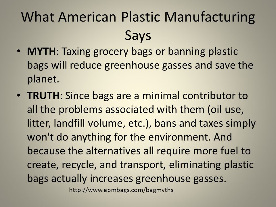 MYTH: Taxing grocery bags or banning plastic bags will reduce greenhouse gasses and save the planet.