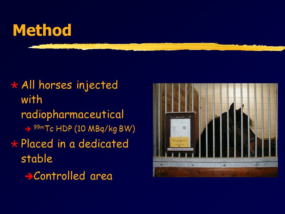 Method  All horses injected with radiopharmaceutical è 99m Tc HDP (10 MBq/kg BW)  Placed in a dedicated stable è Controlled area