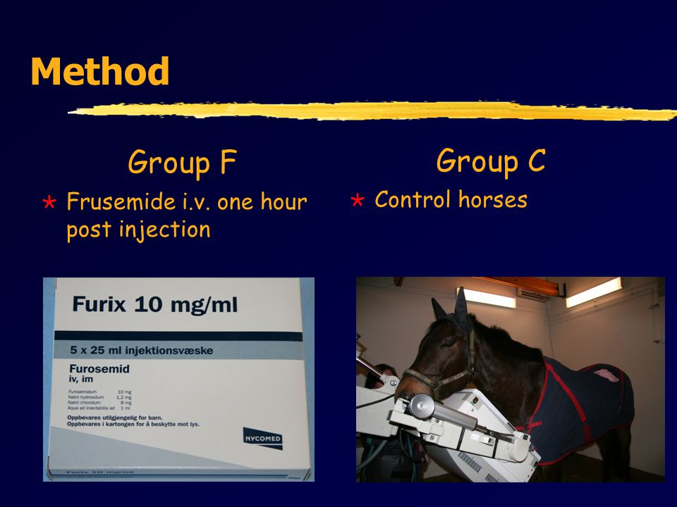 Method Group F  Frusemide i.v. one hour post injection Group C  Control horses
