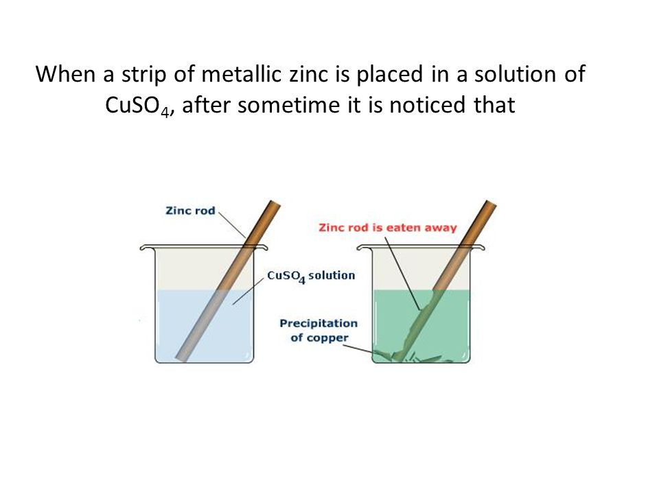 When a strip of metallic zinc is placed in a solution of CuSO 4, after sometime it is noticed that