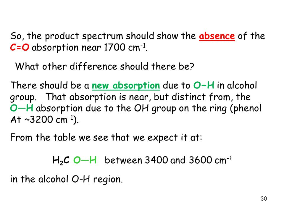 B = False The C=O double bond is the one which is reduced in the reaction. The infrared spectrum of the product, vanillyl alcohol, will absorb near 17