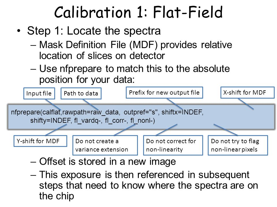 Calibration 1: Flat-Field Step 1: Locate the spectra –Mask Definition File (MDF) provides relative location of slices on detector –Use nfprepare to ma