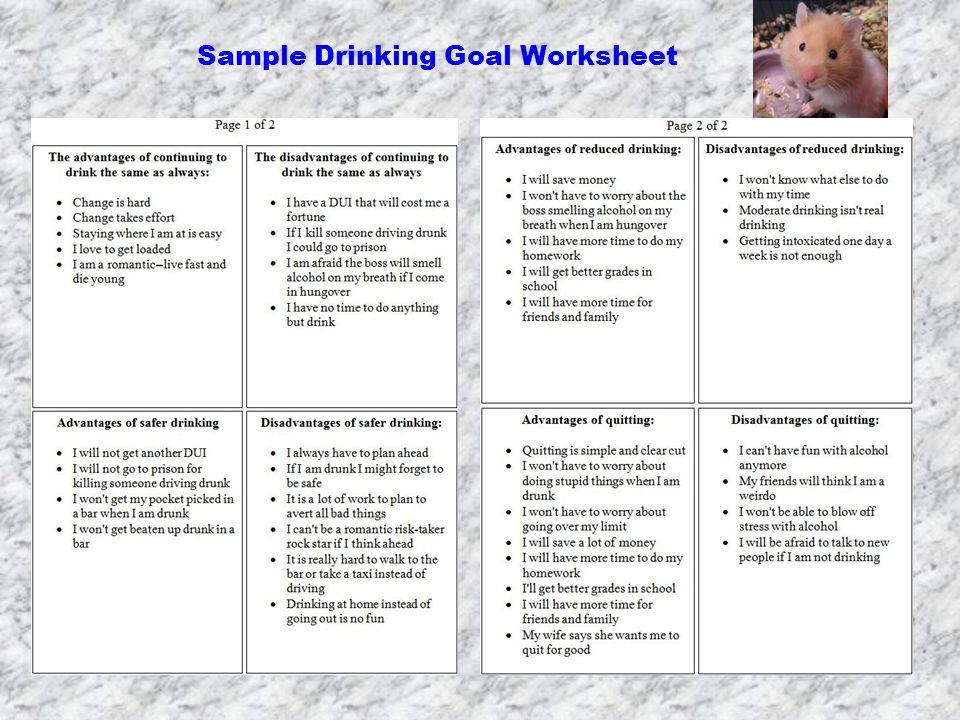 Sample Drinking Goal Worksheet