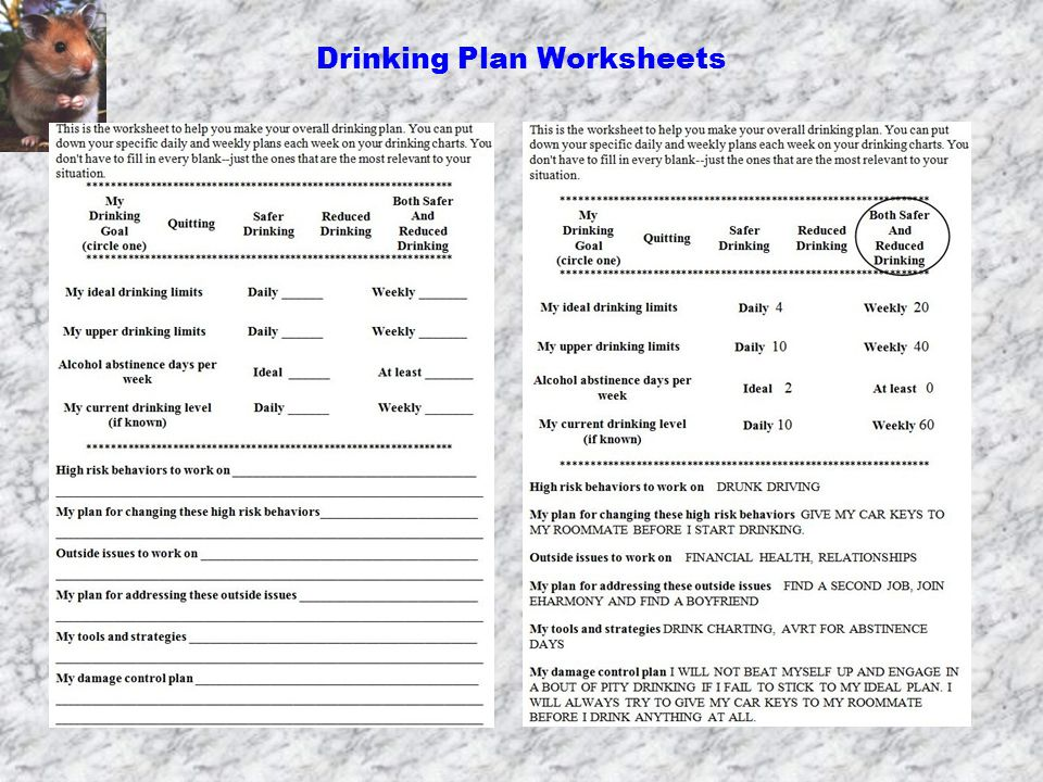 Printable Worksheets abstinence worksheets An Alcohol Harm Reduction Self-Help Manual H Harm reduction ...