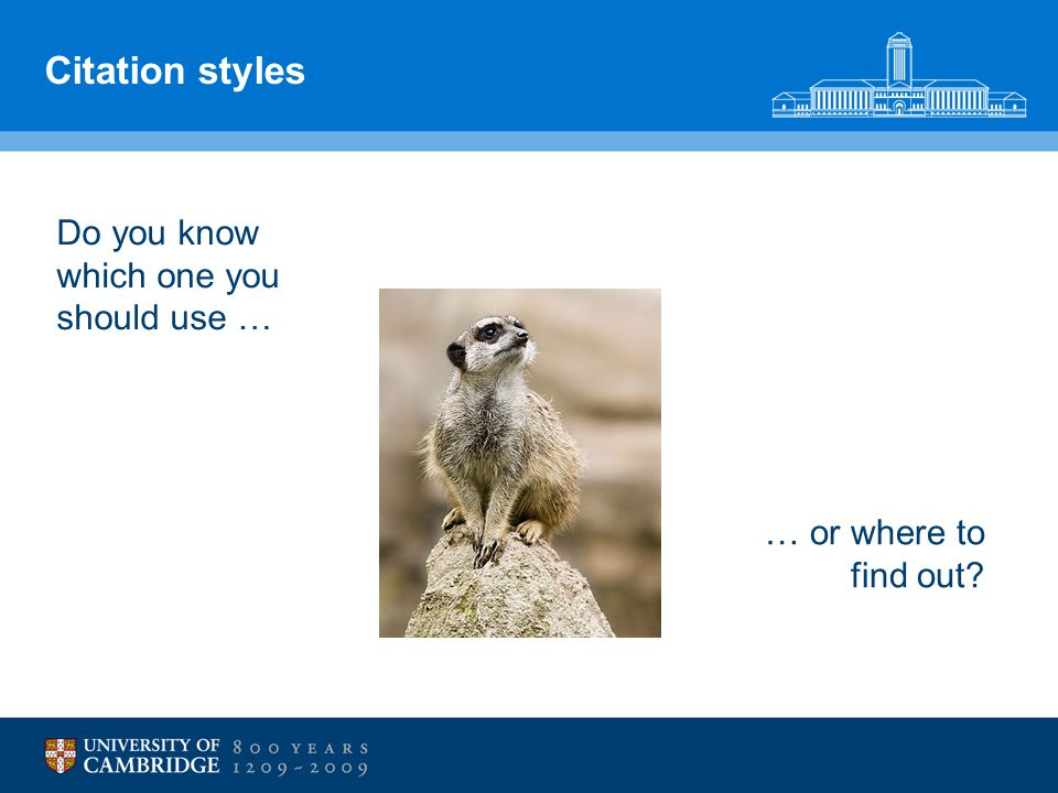 Citation styles Do you know which one you should use … … or where to find out?
